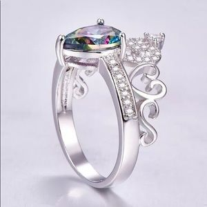 Mystic Topaz 925 Silver Filled Ring